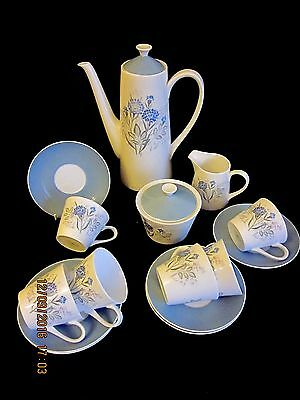 VINTAGE ROYAL TUSCAN TEA SET for 6-TEAPOT, MILK JUG, SUGAR BOWL & 6 CUPS/SAUCERS