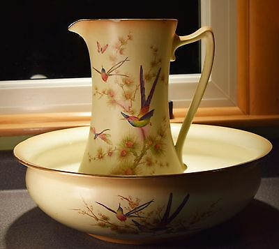 Antique Crown Ducal Fabulously Decorated w/Hummingbirds Bowl & Pitcher Set!