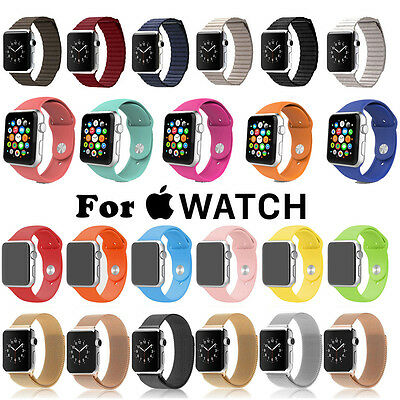 Sport Silicone/Magnetic Leather Milanese Loop Strap Watch Band for Apple Watch