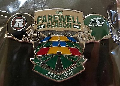 CFL SASKATCHEWAN ROUGHRIDERS 2016 FAREWELL SEASON vs OTTAWA REDBLACKS LAPEL PIN