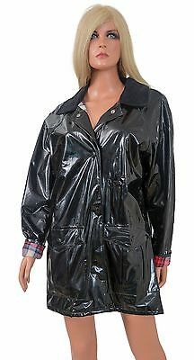 Vintage 80s Shiny Wet Look Vinyl RAINCOAT Glossy Black Red Plaid Flannel Lining