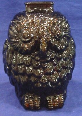 """Vintage """"Wise Old Owl"""" Coin Piggy Bank Dark Amber Brown Glass"""
