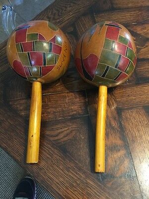 Vintage 1952 Cartagena Columbia MARACAS percussion musical instrument