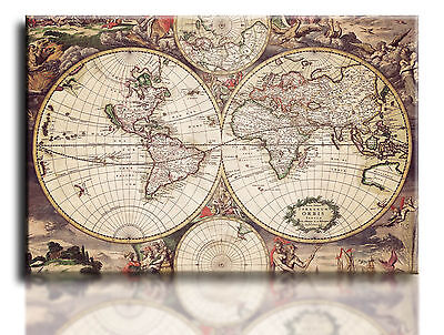 "Large Wall Art Canvas Picture Print of Ancient World Map Framed 20""x30"""