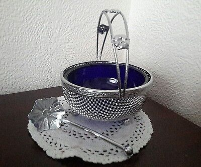Retro Chrome Bue Glass Lined Sugar Bowl With Handle And Matching Spoon