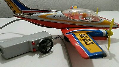 Vintage Tin Toy Jet Be-23 Airplane Joustra Fabrication France Battery Operated