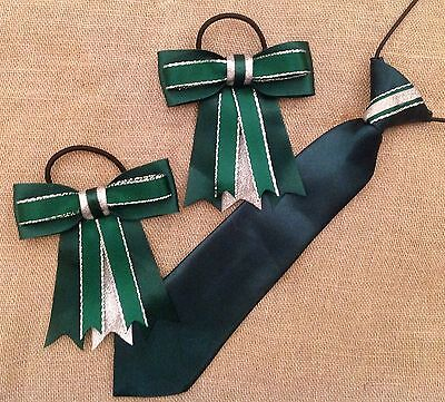 childs equestrian showing set - show tie and bows In GREEN & SILVER L@@K!