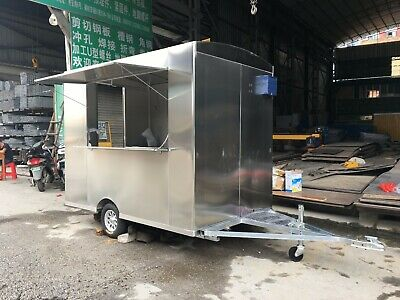 Stainless Steel Ice Cream Concession Stand Trailer Mobile Kitchen Shipped By Sea
