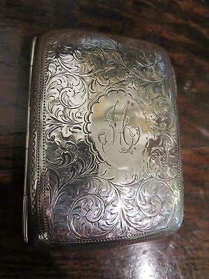 Beautiful Etched Solid Silver Edwardian Cigarette Vesta Or Card Case -Hallmarked