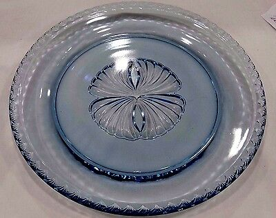 Blue Depression Glass  with Intaglio Shell Center and a Shell Border Plate