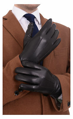 Ariston Mens Black Trim Lambskin Leather Driving Gloves With Cashmere Lining