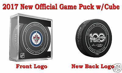 2017 Winnipeg Jets Official NHL Hockey Game Puck - New Back Logo w/Cube