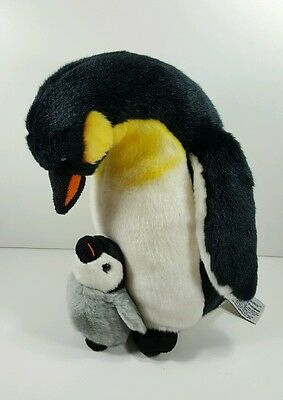 "Russ Berrie Yomiko Classics 12"" Mommy and Baby Penguin Plush"