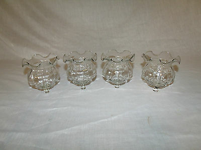4 Ruffled Clear Blown Glass Vintage Home Interior Votive Cup Candle Holders