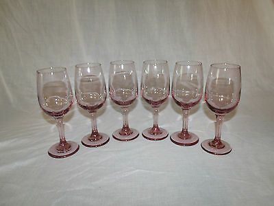"""(set of 6) VINTAGE Plum Purple 8oz Wine Goblets made by LIBBEY      7 1/8"""" tall"""
