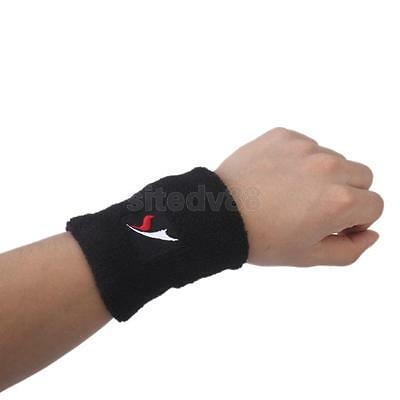 Black Sports Basketball Tenis Sweatband Wristband Wrist Sweat Band