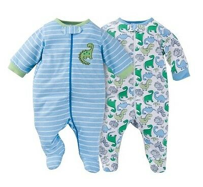 Gerber Boy 2-Pk Zip Front Sleep N Plays Blue w/ Dinosaurs Size 3-6M Baby Clothes