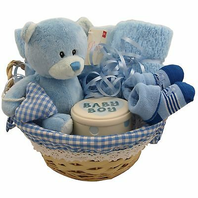 Baby gift basket/hamper with keepsake/treasure box boy baby shower nappy cake