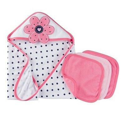 GERBER BABY GIRL 4-Piece Pink Flower Terry Bath Set; Baby Clothes Shower Gift