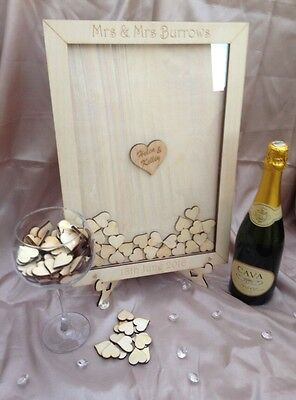 Wedding dropbox Guestbook With 80 Hearts + Stand.