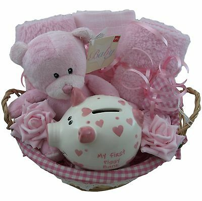 Baby gift basket/hamper with first piggy bank girl baby shower nappy cake
