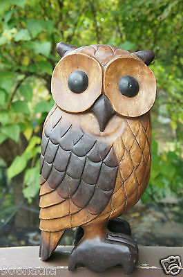 """Vintage Solid Wood Hand Carved Large Owl Bird 20"""" Tall"""