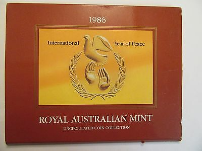 1986 Australia Uncirculated Mint Set, 7 coins , International Year of Peace