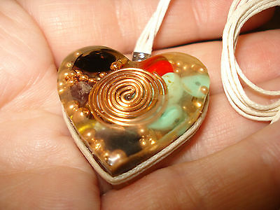 New Heart  Energy  Orgone  Pendant  Emf Protection   Copper   Crystals  Necklace
