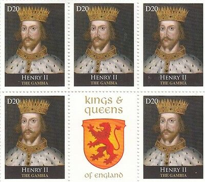 (95957) Gambia MNH Henry II Kings & Queens of England block  u/m mint
