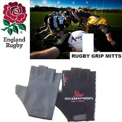 NEW Rugby Gloves Grip Stick Mits Mitts Scorpion Large *Fully Packaged* Free P&P