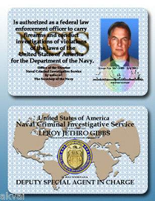 NCIS Leroy Jethro Gibbs Replica PVC ID Cards - or Other cast member - COSPLAY