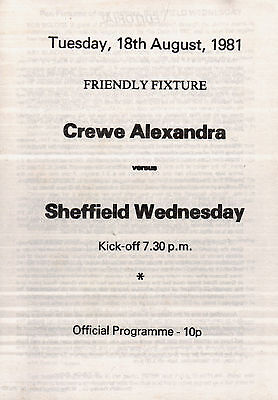 1981/82 Crewe Alexandra v Sheffield Wednesday, friendly - PERFECT CONDITION