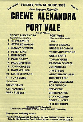 1983/84 Crrewe Alexandra v Port Vale, friendly - PERFECT CONDITION
