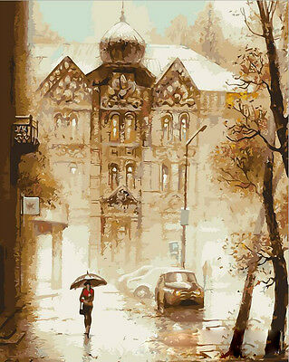 """16X20"""" Paint By Number Kit DIY Oil Painting on Canvas Rain City 137"""