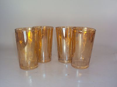 "4 Depression Jeannette Hex Optic Iridescent Honeycomb 4"" Juice Glasses Tumblers"