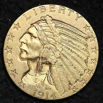 1914-D Indian Gold $5 Dollar Half Eagle CHOICE UNC FREE SHIPPING E256 ELL