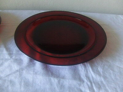 Vintage France Ruby Red Glass Dinnner Plates Set of two
