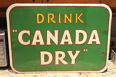 Vintage CANADA DRY Embossed Metal Soda Advertising Sign Tin Pop General Store