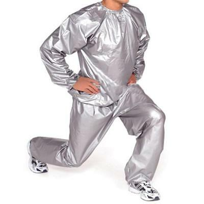 Heavy Duty Sweat Sauna Suit Exercise Gym Fitness Weight Loss Anti-Rip Grey