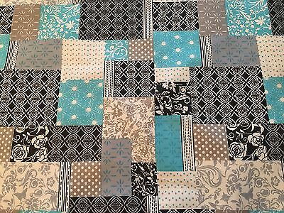 **FREE SHIPPING** King Size Cheater Quilt Top Patchwork Aqua 90 x 108 (3 Yards)