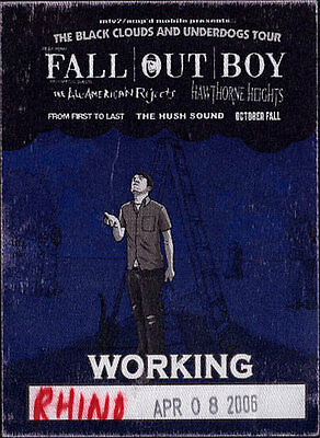 Fall Out Boy  4/8/2006 Tour Backstage Crew Pass Hawthorne Heights - Tacoma Dome
