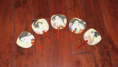 RARE Japanese Round Fans - SET OF FIVE - Bought in Japan 1990's - MADE IN JAPAN