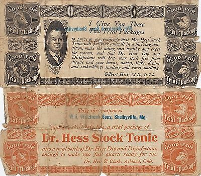 Shelbyville Mo. Dr. Hess Stock Tonic Ad Note, Missouri,