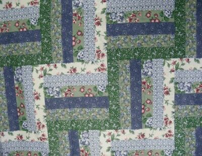 **FREE SHIPPING**King Size Log Cabin Navy Cheater Quilt Top 90 x 108 (3 Yards)
