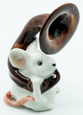 Figurine Animal Ceramic White Rat Mouse Mice Playing Horn Musical - FG008-4