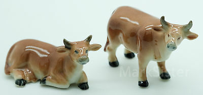 Figurine Animal Ceramic Statue 2 Brown Cow Couple - CFO002
