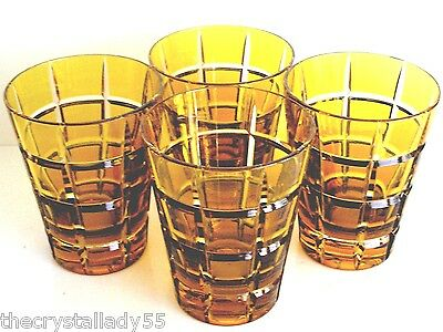 DIOR METROPOLITAN AMBER GOLD CASED CUT TO CLEAR CRYSTAL HIGHBALLS Set of 4