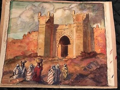 Original Rare Moroccan Watercolor And Sketching By Listed Artist Louis Endres OH