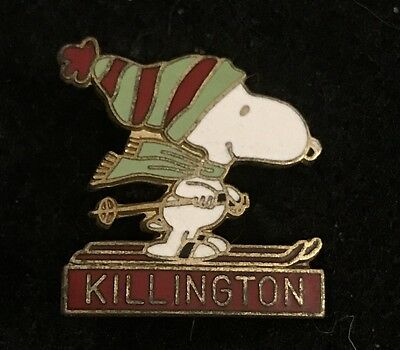 KILLINGTON SNOOPY Vtg Skiing Ski Pin Badge VERMONT VT Souvenir Travel PEANUTS