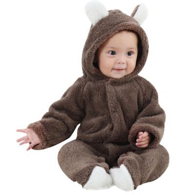 Cute Infant Baby Kid Warm Coral Fleece Romper Jumpsuit Boy Girl Winter Clothes